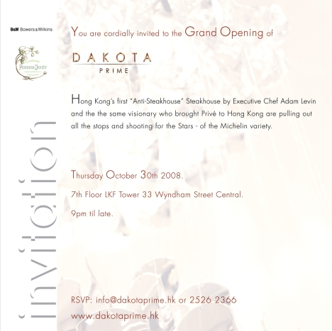 Dakota Prime Grand Opening Invitation