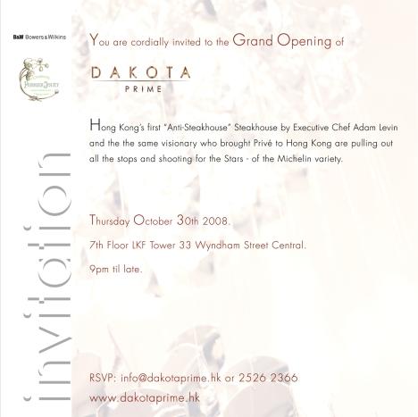 Dakota Prime Grand Opening Invitation