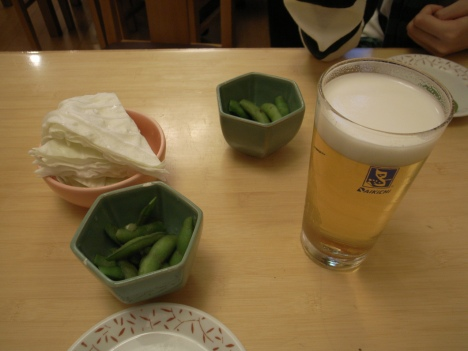 Edamame, Cabbage and a Perfect Pour of Sapparo Beer from Daikichi