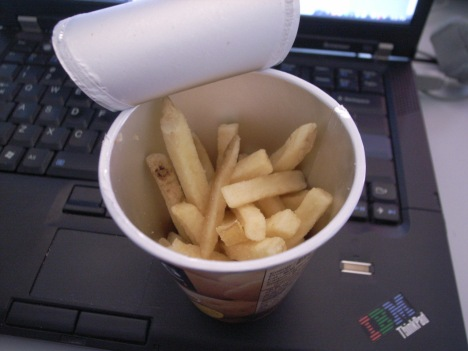 Suddenly, Jagabee turns into McDonalds french fries!