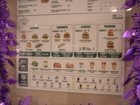 Menu at Freshness Burger