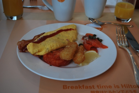 Omelette, Salmon, Hash Brown, Bacon and Grilled Tomato