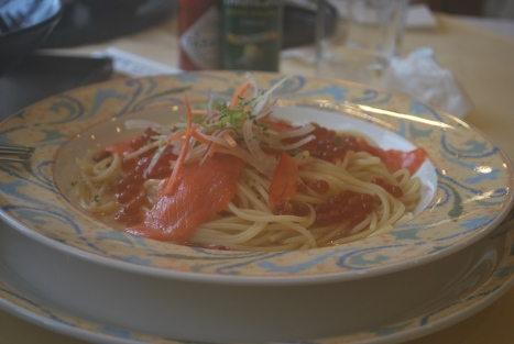 Smoked Salmon and Roe Pasta at Restaurant Gulliver
