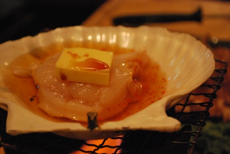 Raw Scallops Cooked in Broth and Butter at Abucha
