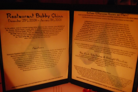 Creative Menu from Restaurant Bobby Chinn