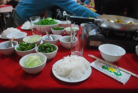 Rice Vermicelli and Accompanying Condiments