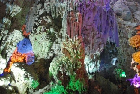 One of the Limestone Caves in Halong Bay