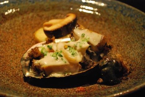 Hokkaido EZO Abalone Steak, Sharks Fin Sauce with Grilled Seasonal Vegetables