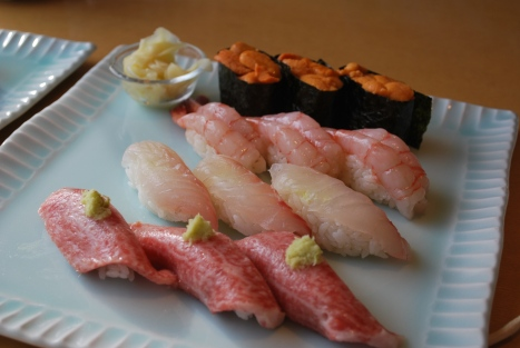 Uni, Amaebi (Sweet Shrimp), Hamachi (?) and Toro Nigirizushi