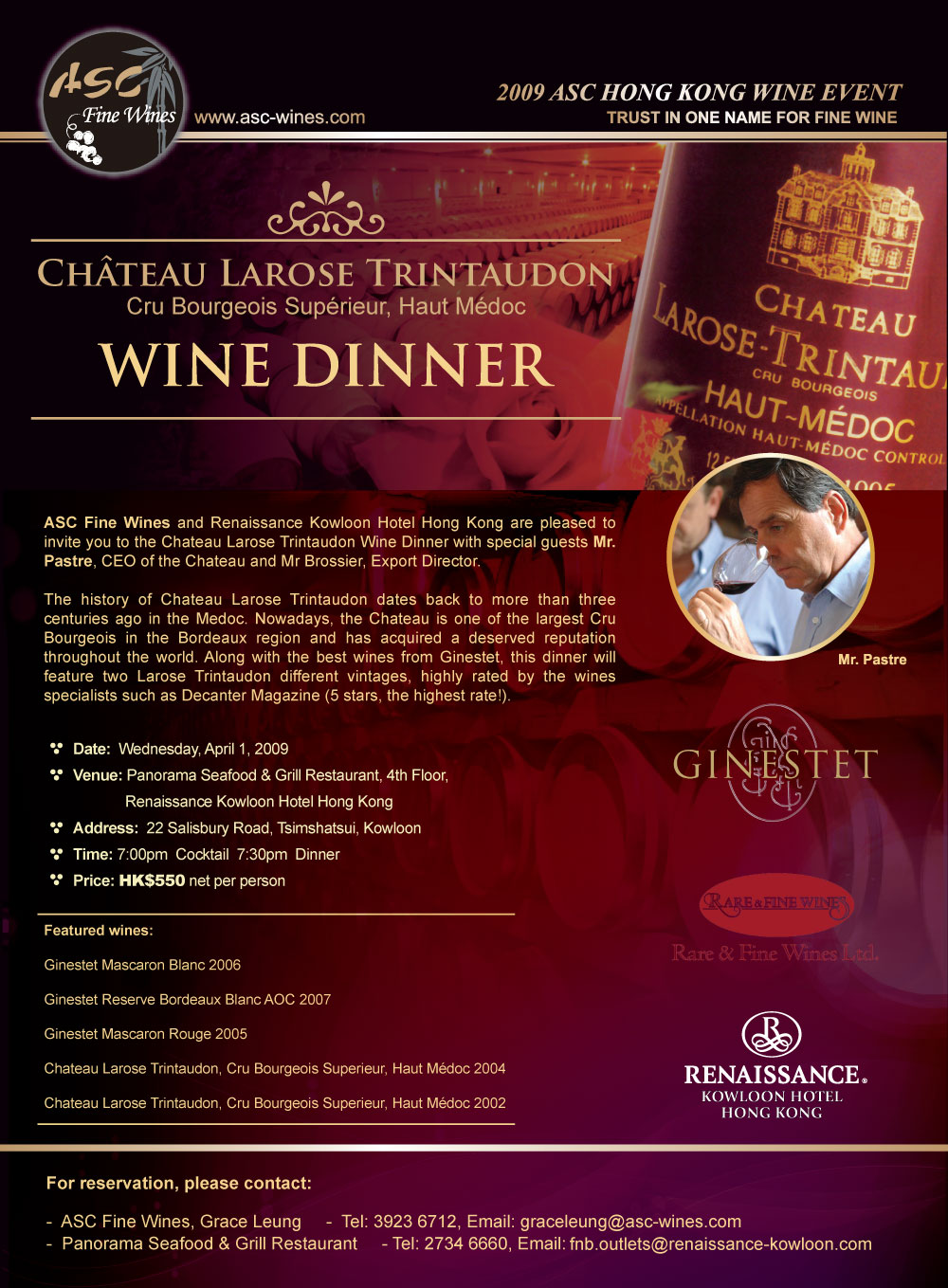 chateau larose trintaudon wine dinner april 1 renaissance kowloon