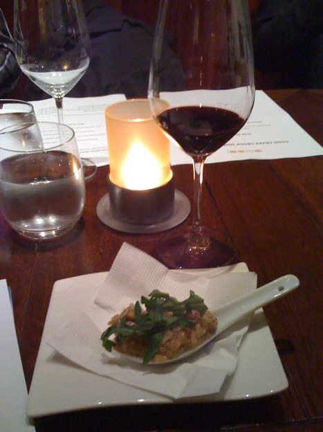Two Oceans Shiraz 2008 paired with Wild Mushroom Risotto with Smoked Porcini, Pecorino, and Rocket