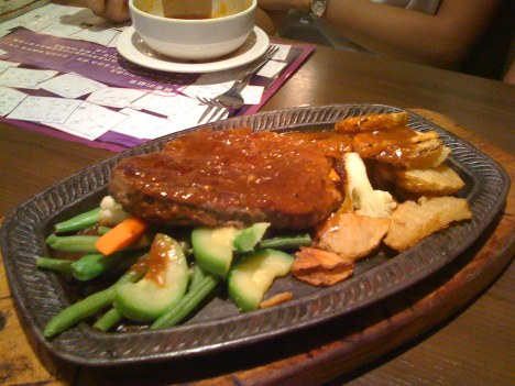 Metal Pan Steak with Black Pepper Sauce