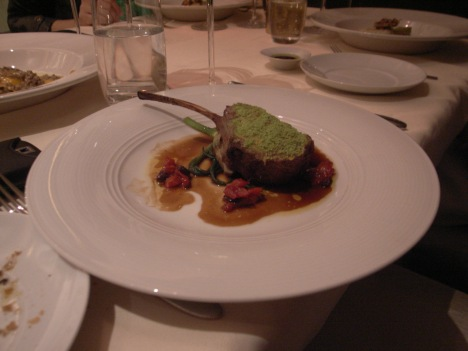 Colorado Lamb Rack with Artichoke Puree, Baby Tomato, Thyme and Black Olive
