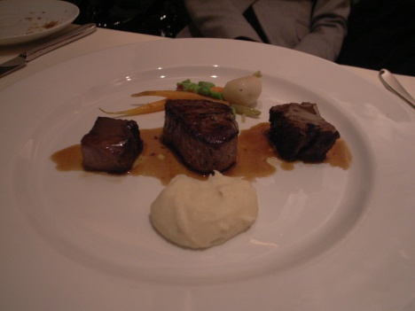 Wagyu Short Ribs, Wagyu Short Tenderloin and Ox Tongue with Whipped Potato and Red Wine Sauce