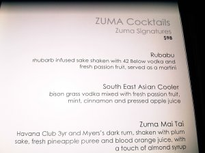 Zuma Signature Cocktails
