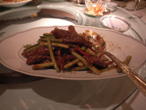 Choi Sum (or was it Asparagus?) with Beef