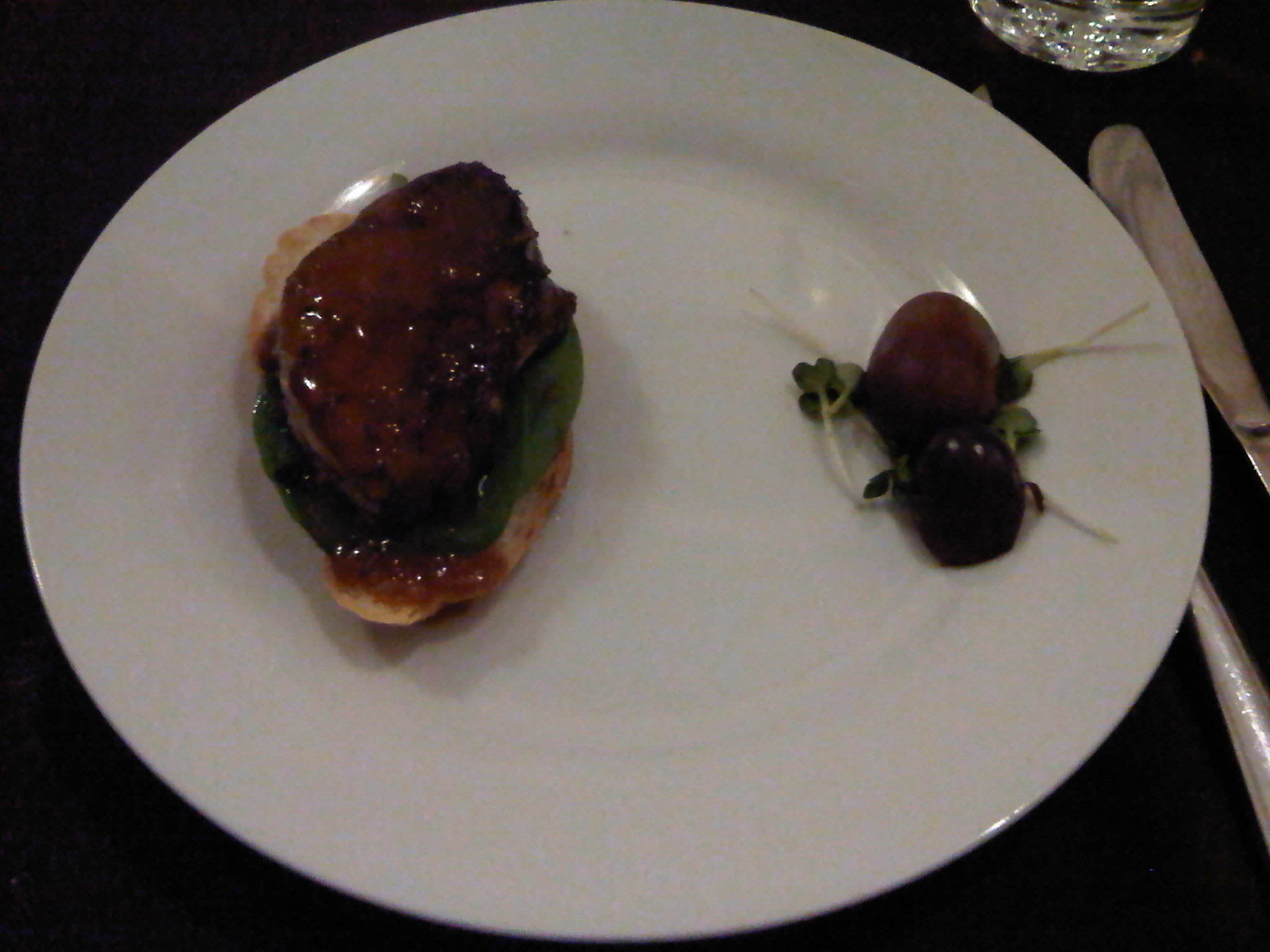 Seared Foie Gras (Goose Liver) on Baby Spinach & Toast in Meet Lobo's Signature Sauce