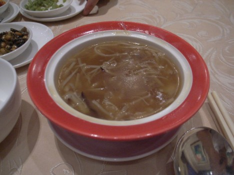 Sharks fin soup with shredded sea cucumber, abalone and fish maw