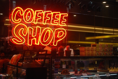 Coffee Shop sign at the food court at Siam Paragon