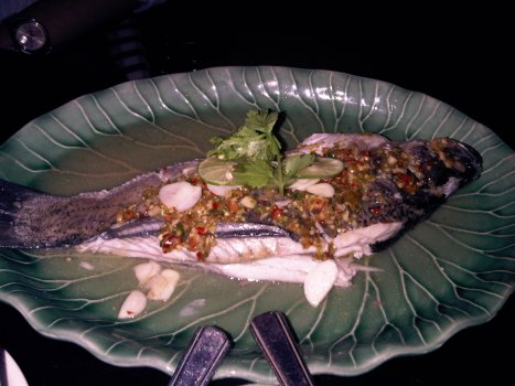Steamed Whole Sea Bass with Chili and Lime Sauce